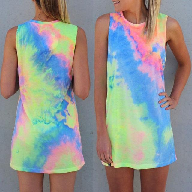 Summer Sleeveless Rainbow Loose  Mini Dress for Women