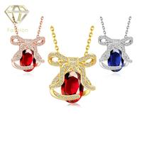 Hot Sale 18K Rose White Gold Plated Unique Bow Shaped Luxury Red Blue Crystal Pendant Necklaces