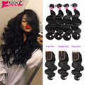 Peruvian Body Wave With Closure 7A Peruvian Virgin Hair 4 Bundles With Closure Human Hair Extensions Rosa Hair Products