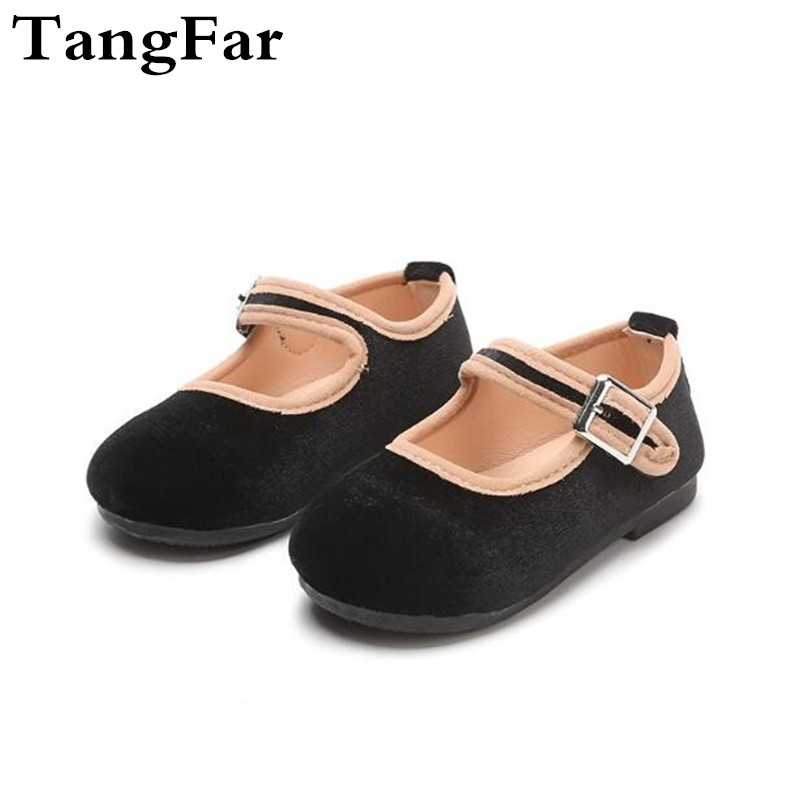 Toddler Loafers Black Red Suede Princess Shoes For Girls Causal Student Mary Jane Shoes Moccasins New Arrival 2019