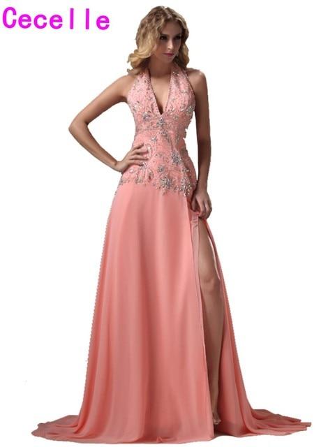 60c4a244ad Traje de fiesta 2019 Sparkle largo Coral Vestidos de Noche vestidos para  adolescentes cordón Chiffon una