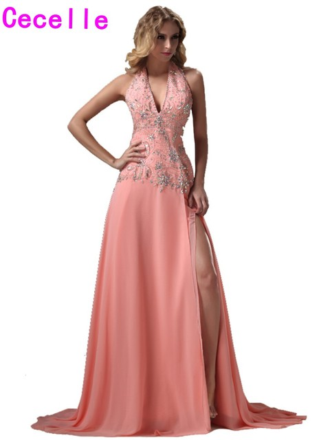 robe de soiree 2019 Sparkle Coral Long Evening Dresses Gowns For Teens  Beading Chiffon A-line Sexy Split Prom Party Dress Custom b0343f860111