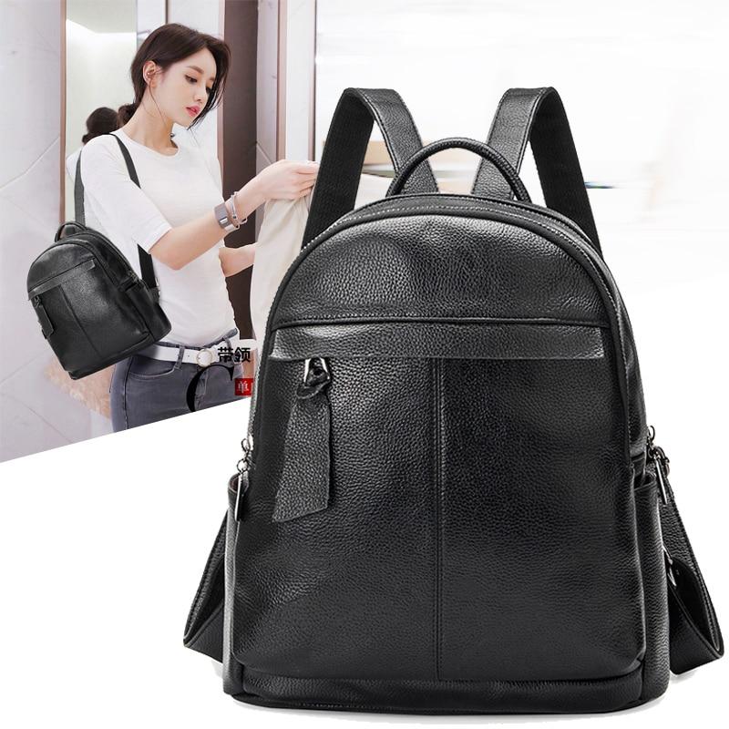 Black Cowhide Genuine Leather Backpack Women Korean Backpack Male Backpack For Teenagers ...