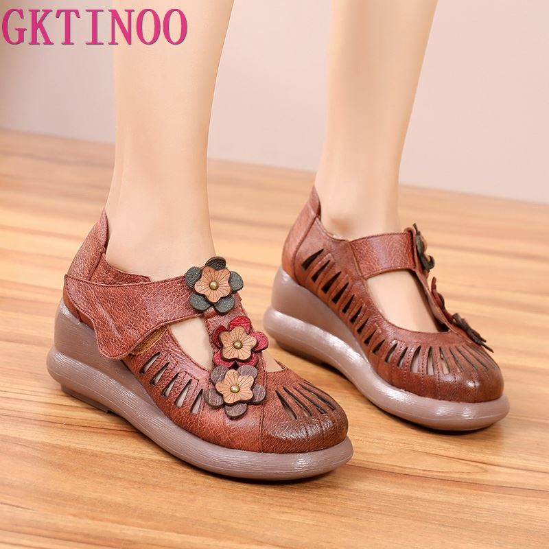 GKTINOO Women Gladiator Sandals Genuine Leather Hollow Wedges Sandals Ladies Casual Soft bottom Summer Shoes Woman