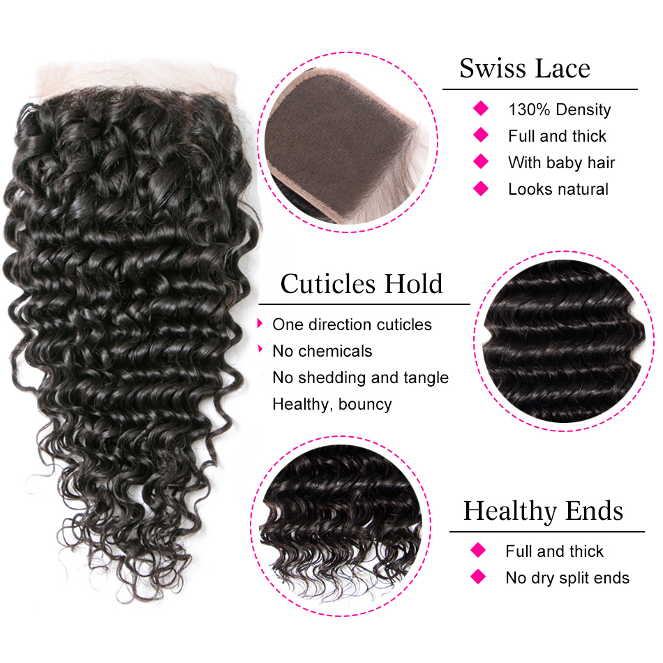 Beaufox Brazilian Deep Wave Bundles With Closure Human Hair Bundles With Closure Remy Brazilian Hair Weave Bundles With Closure 5