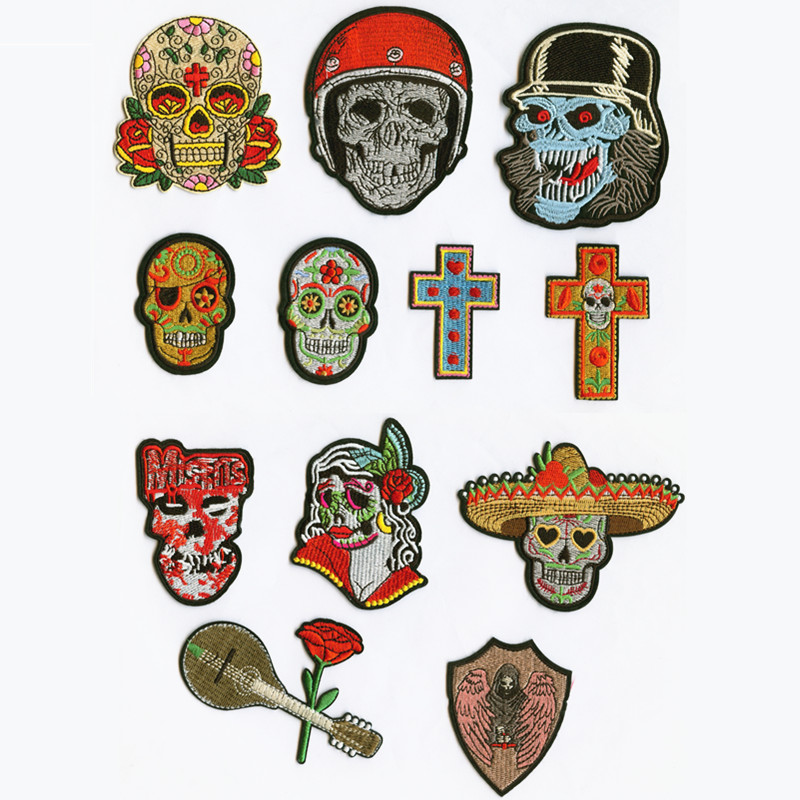 Art Fashion Skull Cross Patchwork Patch Embroidered Patches For Clothing Iron On For Close Shoes Bags Badges in Patches from Home Garden