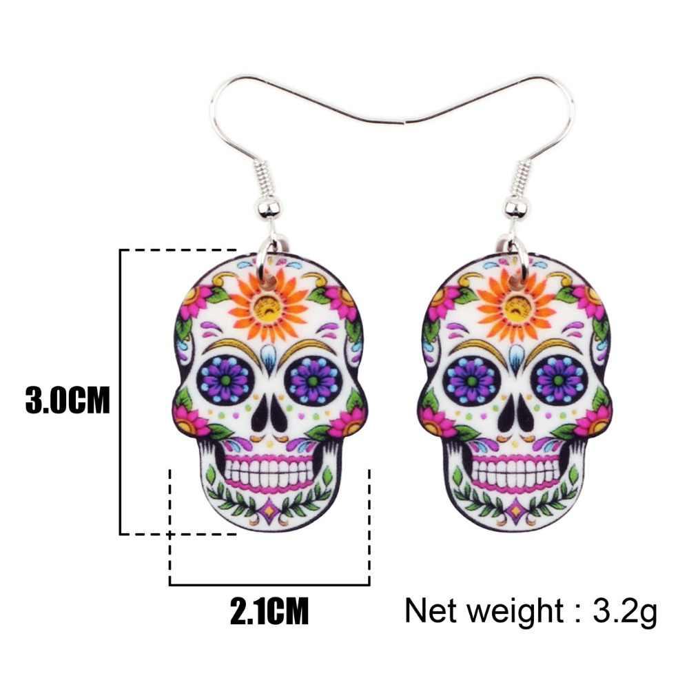 Bonsny Acrílico Dangle Gota Halloween Esqueleto Crânio Brincos Big Longo Punk Moda Jóias Para Meninas Das Senhoras Das Mulheres Por Atacado