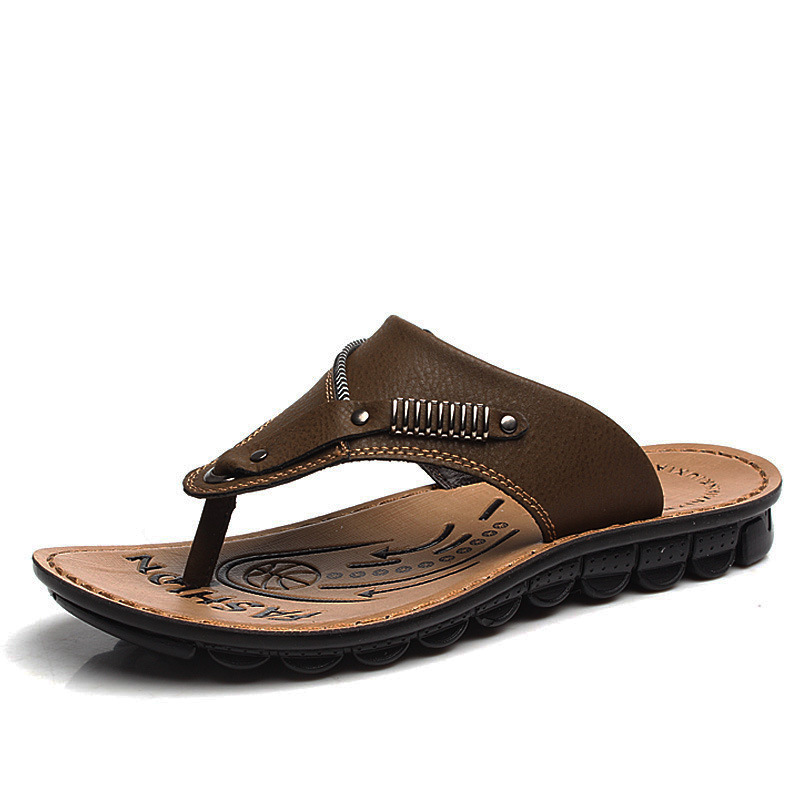 Summer shoes new men's casual everyday men herringbone slippers beach sandals leather Slides Flip Flops  -  Online Store 923589 store
