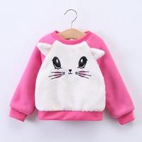 Sevimli Kız Sonbahar Kış Toptan Çocuklar Kalınlaşmış Karakter Giysileri Bebek Karikatür Kedi Hoodies Çocuk Lolita Giyim 5 adet/grup