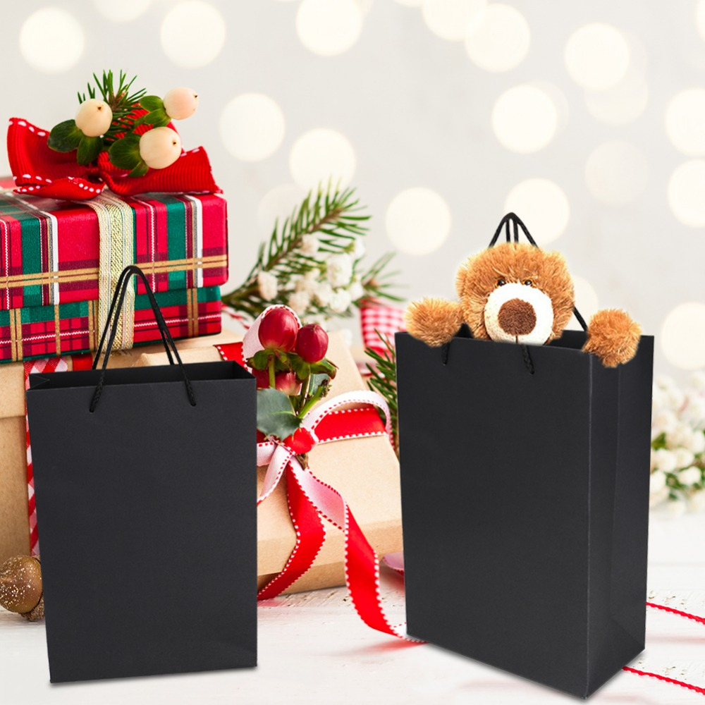 1Pcs Black Kraft Paper Gift Bag With Twisted Rope Handles Shopping Package Bags New Year Wedding Birthday Party Gift Bag Present