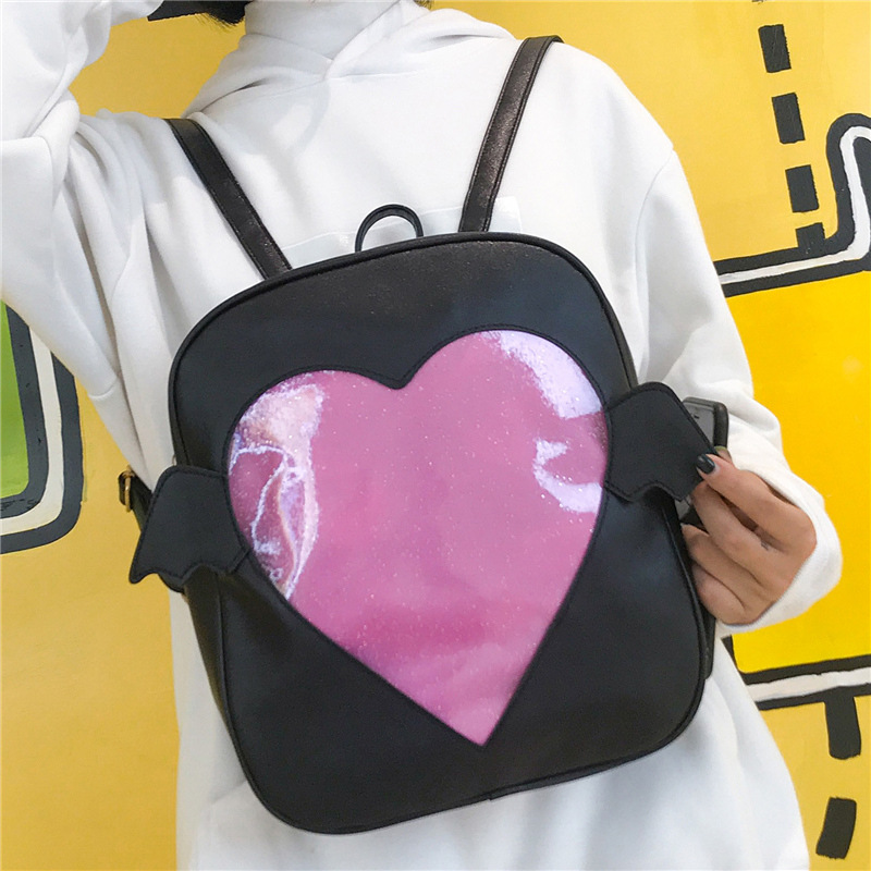 2018 Fashion Angel Wings Backpack Women Love Heart Shape Ita Bag PU Leather Mini Backpacks For Girls Travel School Backpack cute love heart arrow angel bracelet for women
