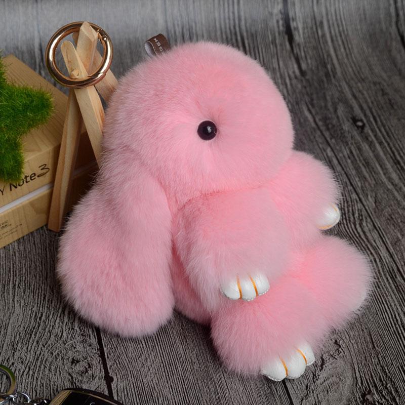 Rabbit Keychain Cute Fluffy Bunny Keychain Rex Genuine Rabbit Fur Pompom Key Ring Pom Pom Toy Doll Bag Charm Car Key Holder 10
