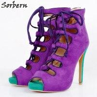 Sorbern фиолетовый Для женщин Туфли-лодочки плюс Размеры туфли на шнуровке с открытым носком женские туфли-лодочки Высокие каблуки женские туф...