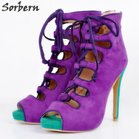 Sorbern Purple Women Pumps Shoes Plus Size Lace Up Peep Toe Shoes Woman Pumps High Heels