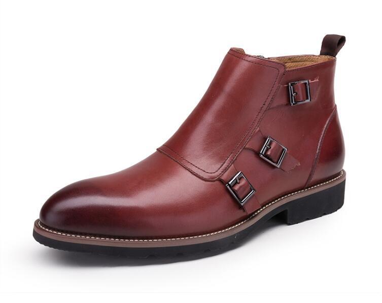 Hommes Vintage Robe Véritable Roman Black Chaussures Top Bottes Strap Appartements High Martin red Boucle Beau De Cheville Casual En Cuir PZOTkwXiu