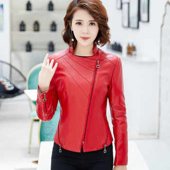 2019 New Spring Autumn Women Motorcycle Faux PU Leather Plus Size 4XL Red Black Soft Leather Jackets Lady Biker Outerwear Coat