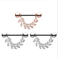 2PCS Hot Sale Dangle Nipple Rings Stainless Steel Women Leaves Bar Barbell Piercing Nipple Rings Body Jewelry Christmas Gift