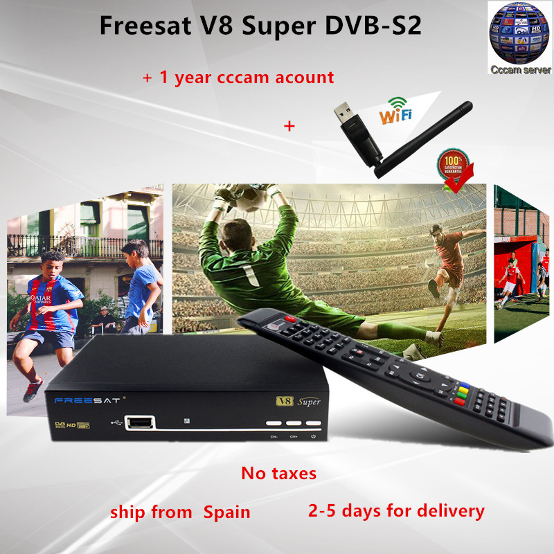 Freesat V8 Super DVB-S2 Satellite Receiver with 1 Year Europe Spain Cccam 4clines Full HD 1080P Portugal Germany Italy Polish TV freesat v7 hd powervu satellite tv receiver dvb s2 with 3months free africa cccam account stable on starsat 5e