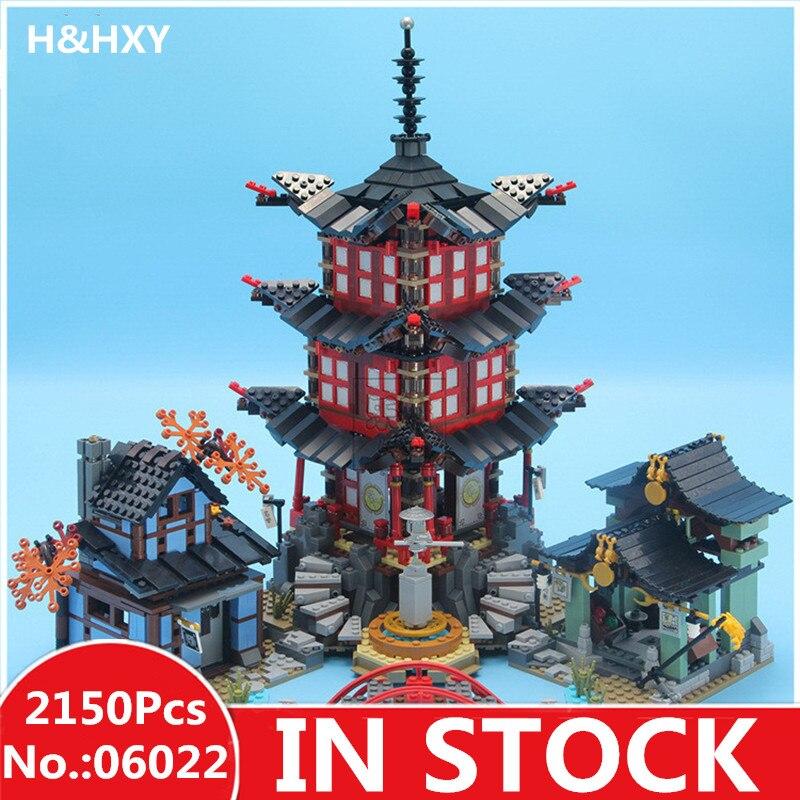 EN STOCK H & HXY 06022 2150 Pcs Ninja Temple de Airjitzu Jay Kai Cole Building Block Compatible 70751 Briques Jouets cadeaux lepin