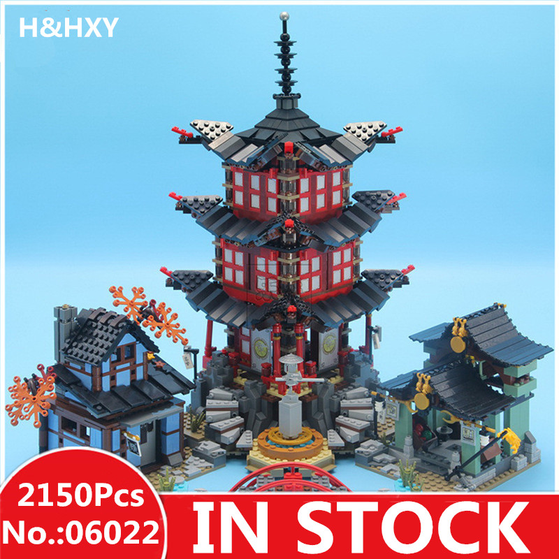 IN-STOCK H&HXY 06022 2150Pcs Ninja Temple of Airjitzu Jay Kai Cole Building Block Compatible 70751 Bricks Toys Gifts lepin ninja temple model building blocks 06022 2150pcs assembly block toys for children ninja figure bricks compatible with legoinglys