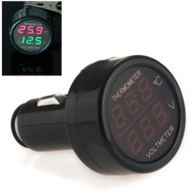 3 In 1 Red LED Car Cigarette Lighter Digital Voltmeter Thermometer Applies to 12/24V Universal SUV Truck Voltage Meter