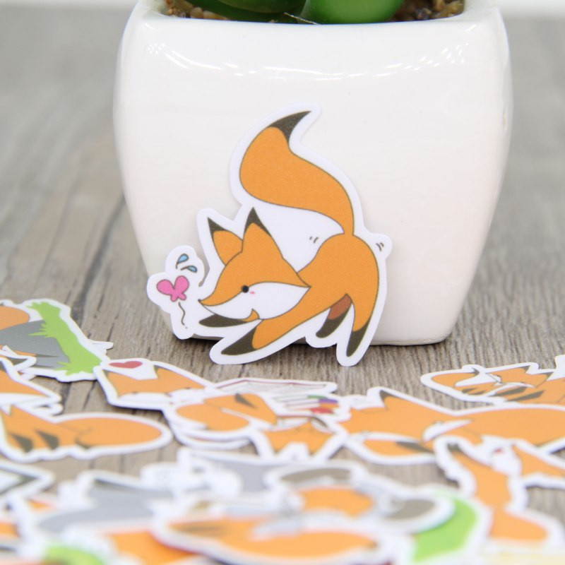 40 Pcs Fox Homemade Expression Stickers For Fashion Laptop Snowboard Home Decor Car Styling Decal Fridge Doodle Kid Toy Sticker