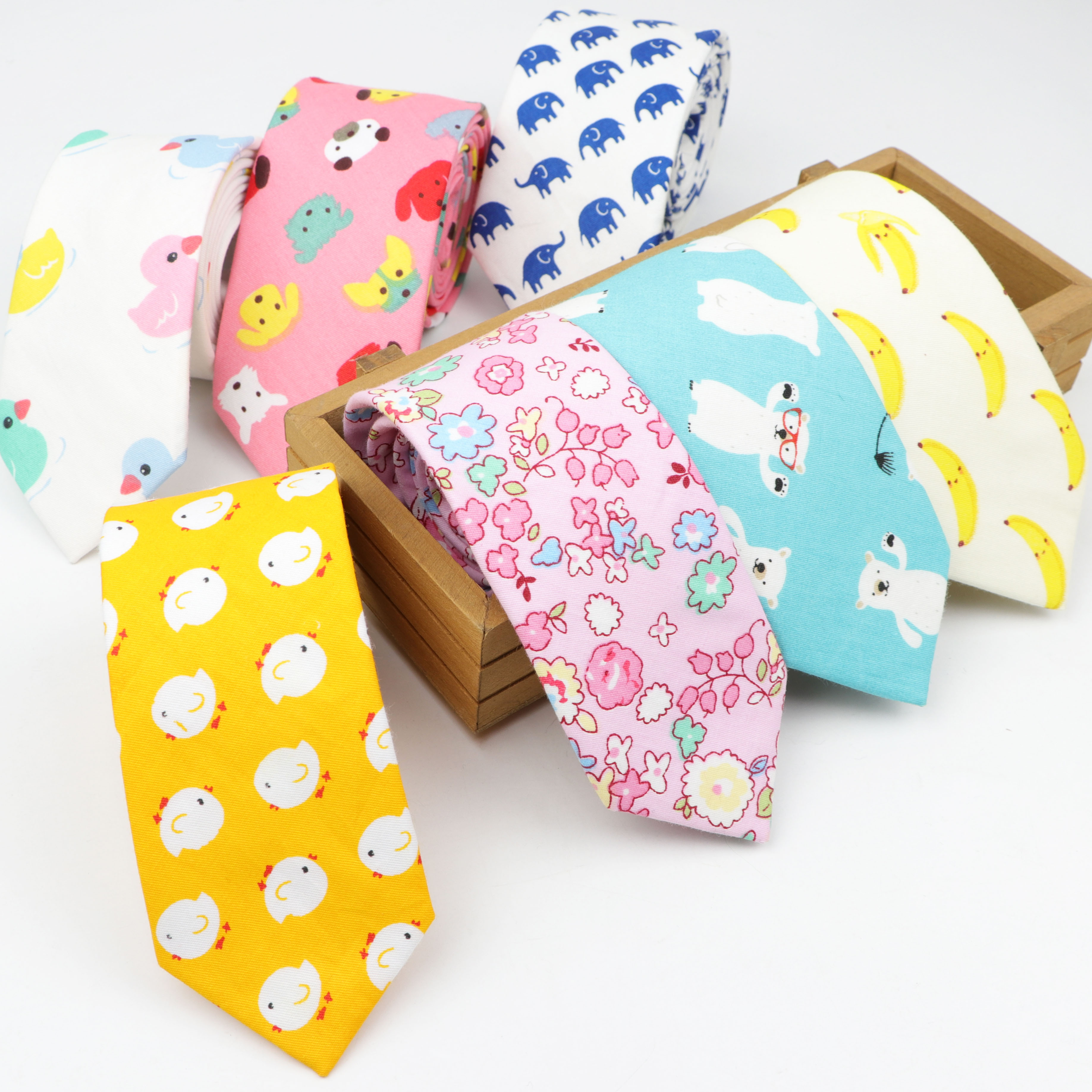 Cotton Necktie Casual Dog Duck Chicken Bear Neckties Grid Bow Tie Lattice Skinny Kids Children Ties Men Small Designer Cravat