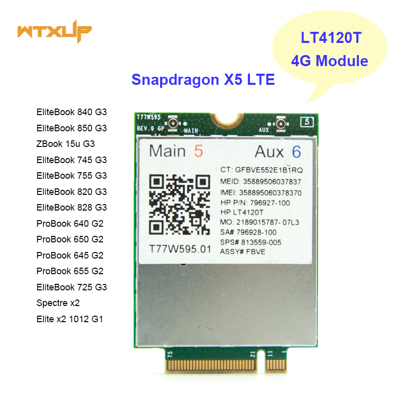 LT4120 Snapdragon X5 LTE T77W595 796927 100 4G WWAN M2 MODULE For HP Probook/EliteBook 820 840 850 745 G3 faster than ME906E