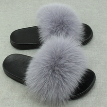 COOLSA Women's Summer Flat Genuine Fur Slippers Indoor Non-slip Fox Hair Slippers Women's Fashion Furry Slippers Home Slippers fayuekey 2018 new spring summer fashion genuine leather home couples slippers indoor floor outdoor slippers non slip flat shoes