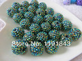 100pcs A lot Peacock Green Ab 20MM Jelly Resin Rhinstone Ball  Beads for Chunky Necklace Jewelry Making