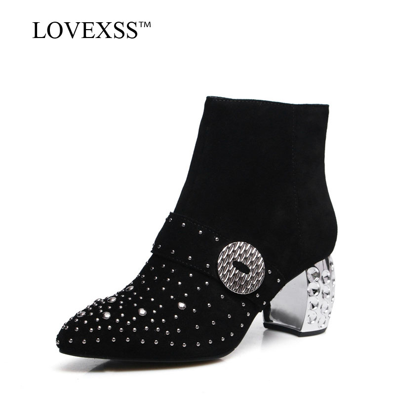 LOVEXSS Woman Crystal Pointed Toe Ankle Boots Black Plus Size 34 - 43 High Heel Shoes Autumn Winter Rivet Genuine leather Boots