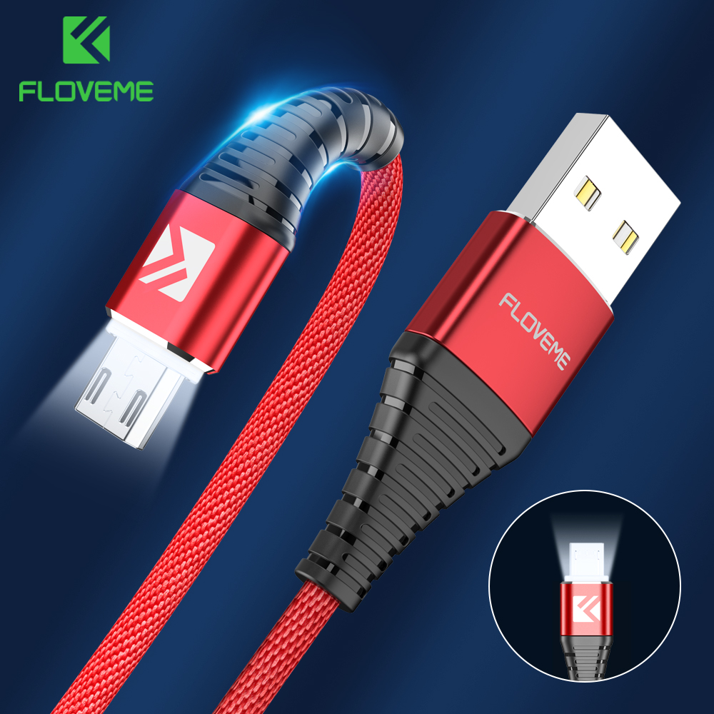 FLOVEME LED Micro USB Cable For Samsung S7 S6 Edge 1m Lighting Data Charging USB Charger