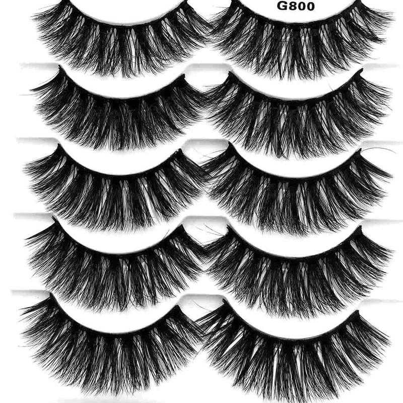 702d10ae30a 5 Pairs Real Mink 3D Volume Thick Daily False Eyelashes Strip Lashes  Natural False Eyelashes Mink