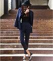 2016 Otoño de La Manera de Las Mujeres Profesionales Trajes Con Pantalones de Punto Ably Uniforme Oficina Femme Traje Pantalón Mujeres de Noche Trajes Pantalón