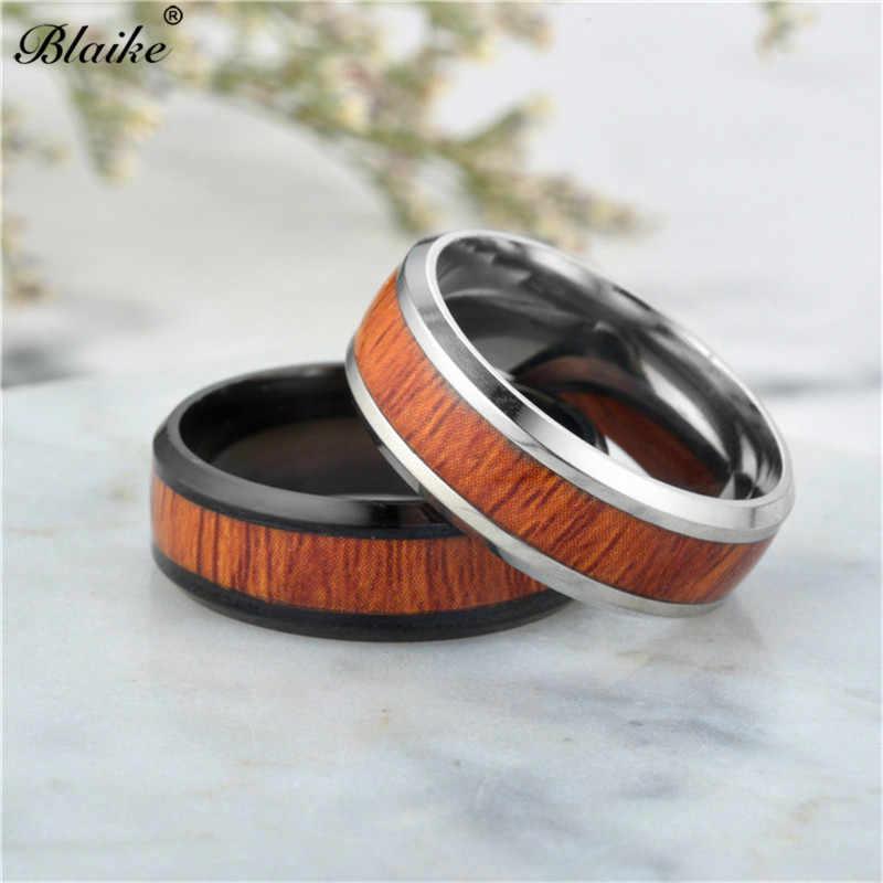 Blaike 8 мм круглый Нержавеющаясталь древесины кольца для Для женщин Для мужчин Винтаж Мода черный/Серебряный Титан Сталь кольцо обручальное ювелирные изделия