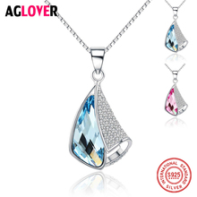 925 Sterling Silver Austrian Crystal Rhinestones Heart Love Chain Necklaces & Pendants for Women Fashion Jewelry Gifts crystal stovall gifts of love