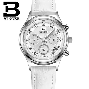 Image 4 - נשים של שעוני יוקרה מותג קוורץ שוויץ Binger עמיד למים שעון אמיתי רצועת עור הכרונוגרף שעוני יד BG6019 W4