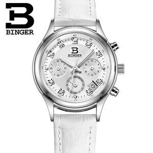 Image 4 - Womens Watches Luxury Brand quartz Switzerland Binger waterproof clock genuine leather strap Chronograph Wristwatches BG6019 W4