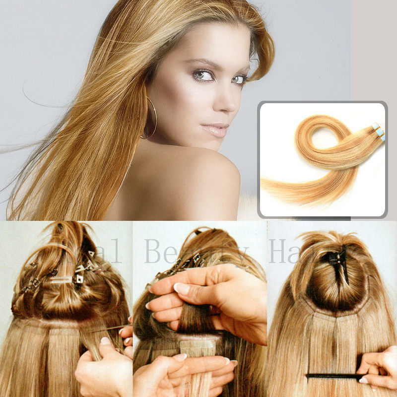 Wavy hair extensions tape in