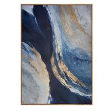 High quality Handmade thick knife abstract oil painting blue and Gold on Canvas Painting Decor Oil artwork