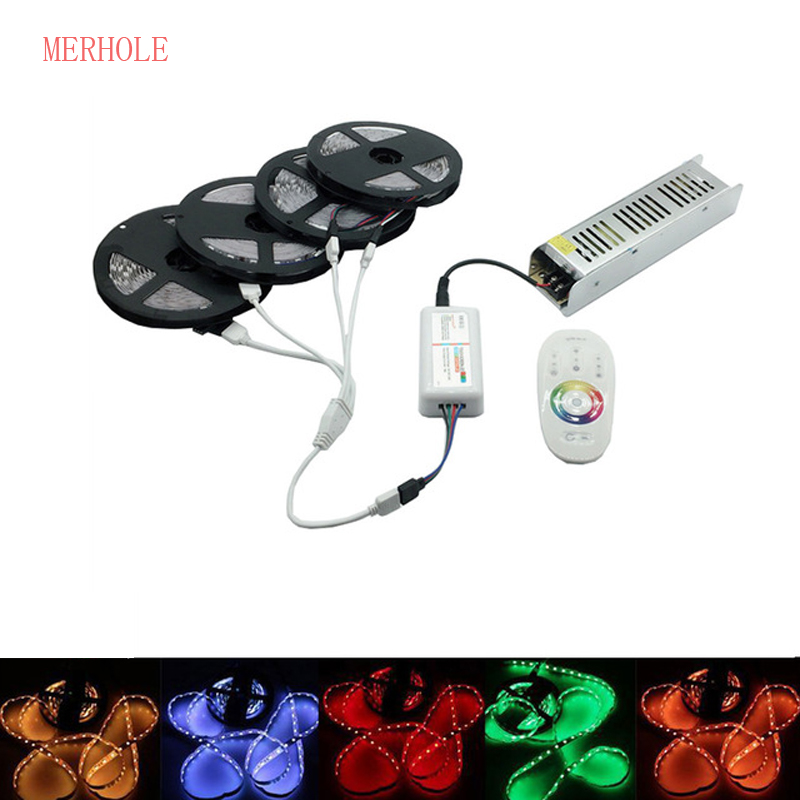 DC 12V LED 5M To 20 M 5050 60led / M RGB LED Strip Set 2.4G Touch Screen RF Remote Control / Wifi Controller + 12V Power Adapter