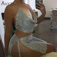 Women Sparkly Rhinestone Halter Metal Chain Dress  Nightclub Gold Silver Backless Split Hip 2 Pieces Set Dress