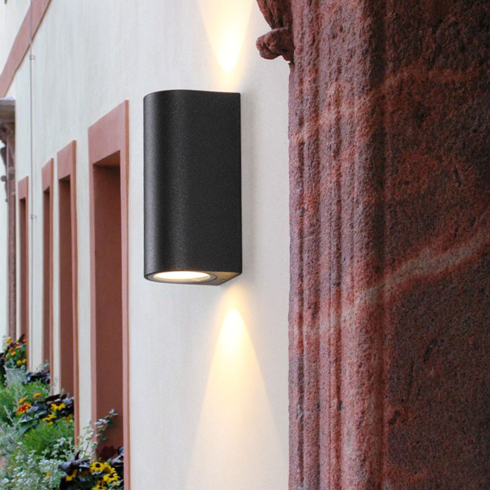 preto ao ar livre lampada de parede 03