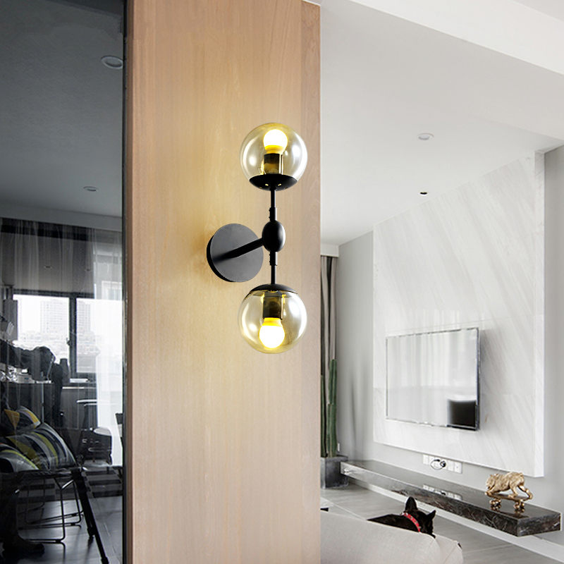 American Village Retro Bedside Wall Lamps Simple Bedroom Living Room Wall Glass Mirror Front Wall Lamp Modern Nordic Wall Light american village wall lamp nordic bronze glass bird living room bedroom bedside lamp