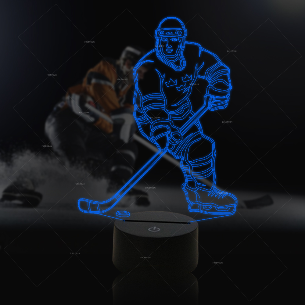 Ice hockey player 7 Changing Colors 3d illusion night lamp 3d luminous ice hockey player shape led table lamp 7 colors changing home living room decor light fixture baby sleep night light