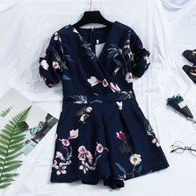Fashion 2019 Summer New Puff Sleeve Wide Leg Rompers Women Sexy Floral Print V-Neck Party Jumpsuits Loose Casual Playsuits v neck sexy print stripe bell sleeve loose jumpsuits