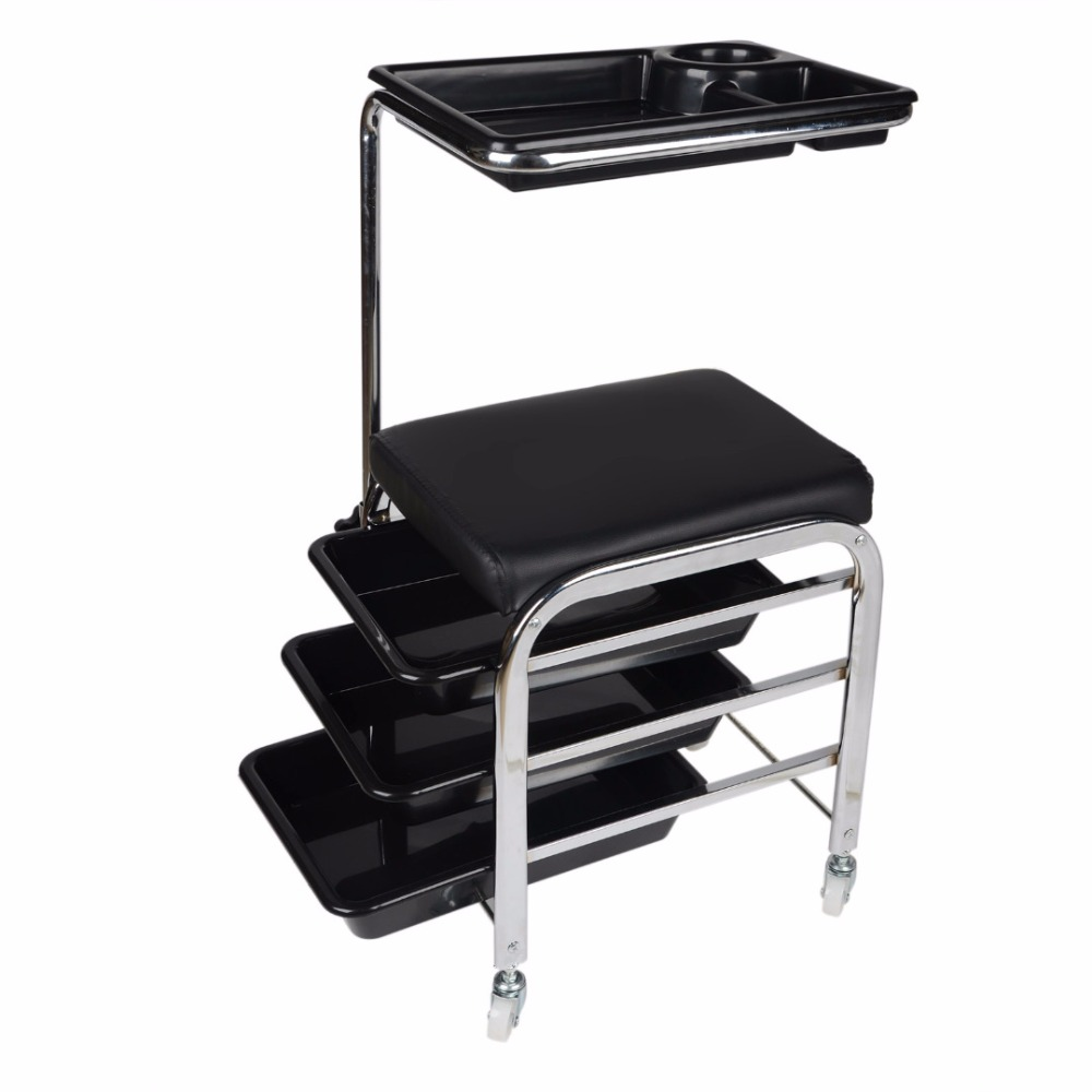 Mayitr Salon Nail Manicure Pedicure Trolley Stool Chair Station Draws Tray Table Cart Black nail clipper cuticle nipper cutter stainless steel pedicure manicure scissor nail tool for trim dead skin cuticle