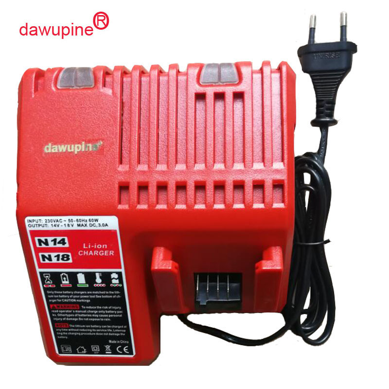 dawupine M18 Li-ion Battery Charger For Milwaukee 14.4V 18V C18C C1418C 48-11-1815/1828/1840 M18 M14 Series Lithium-ion Battery mac prep prime beauty balm основа под макияж spf35 extra light