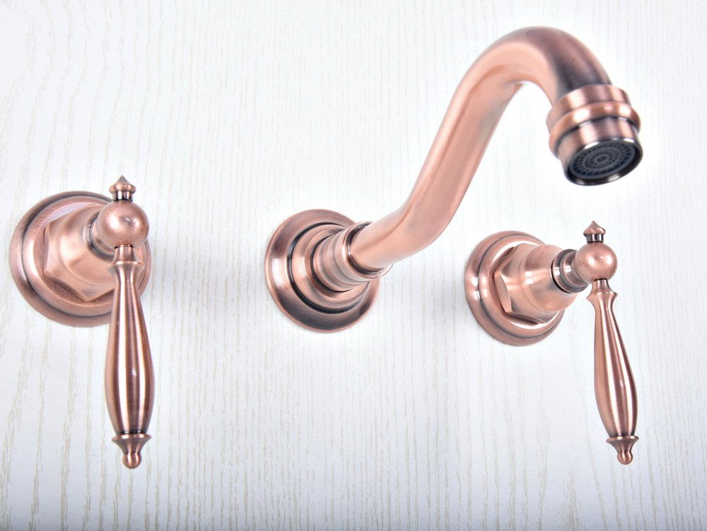 Antique Red Copper Bathroom Sink Mixer Tap Faucet Dual Handles 3 Holes Mixer Tap Wall Mounted Bathroom Faucet zsf502 in Basin Faucets from Home Improvement