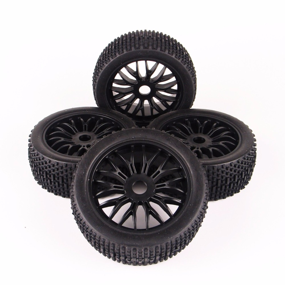 4PCS Rubber Buggy Tires Tyre Wheel Rim 17mm Hex For Traxxas RC 1:8 Off-Road Car 140mm rubber rc 1 8 monster truck tires sponge insert hex hexagon adapter 17mm for rc off road model
